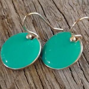 Jewelry - Petite Sterling Silver 925 & Aqua Enamel Gold Wash